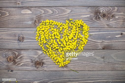 flowers heart on wood panel. Valentines background. : Stockfoto