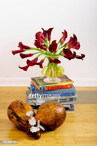Flowers in a vase on a stack of books in a living room : Foto de stock