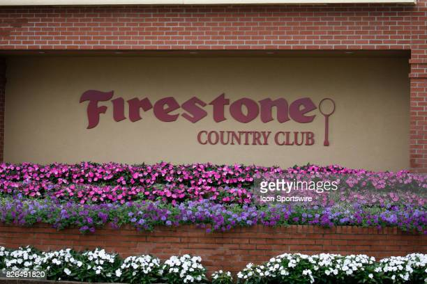 Flowers in bloom for the landscaping around the Firestone Country Club Clubhouse during the second round of the World Golf ChampionshipBridgestone...