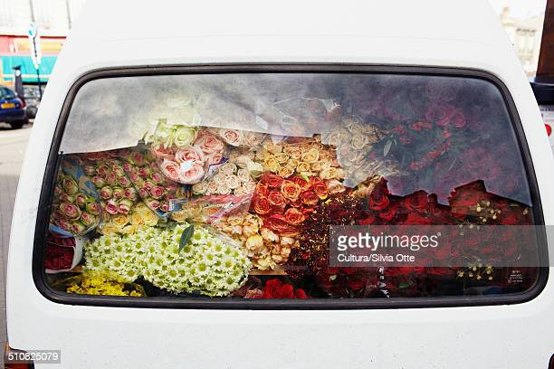 Flowers in car boot