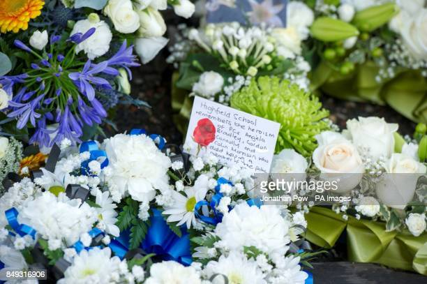 Flowers laid at the memorial service in Gynn Square Blackpool to mark the 30th anniversary of three Blackpool police officers losing their lives...