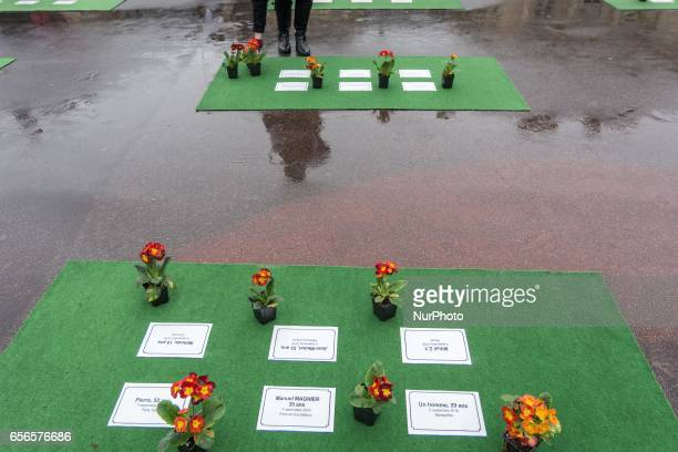 Flowers laid by members of the group 'les Morts de la Rue' are on display Place du Palais Royal in Paris on March 21 in memory of 501 homeless people...