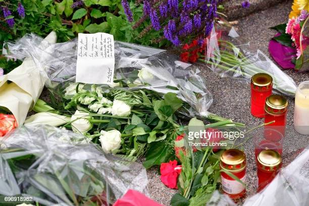 Flowers lay outside the home of former German Chancellor Helmut Kohl in Oggersheim district on June 17 2017 in Ludwigshafen Germany Kohl who was...
