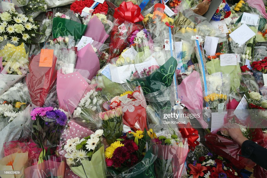 Flowers lay outside Woolwich Barracks on May 23 2013 in London England A man believed to be a British soldier was murdered by suspected Islamists...