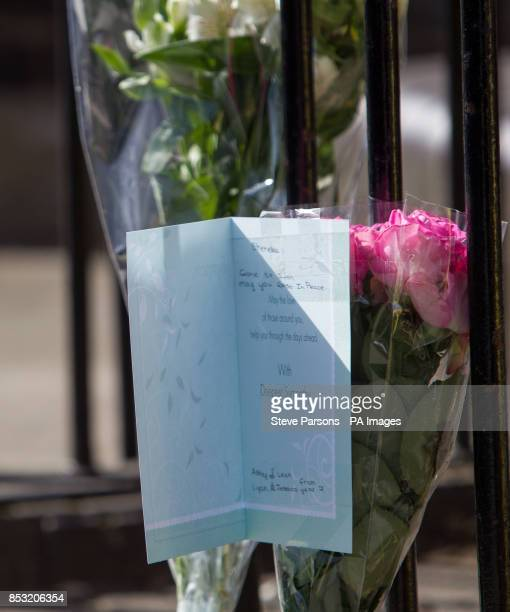 Flowers left at the scene in Eastway Hackney east London where a teenage girl named as Shereka Marsh died after a shooting yesterday as two 16yearold...