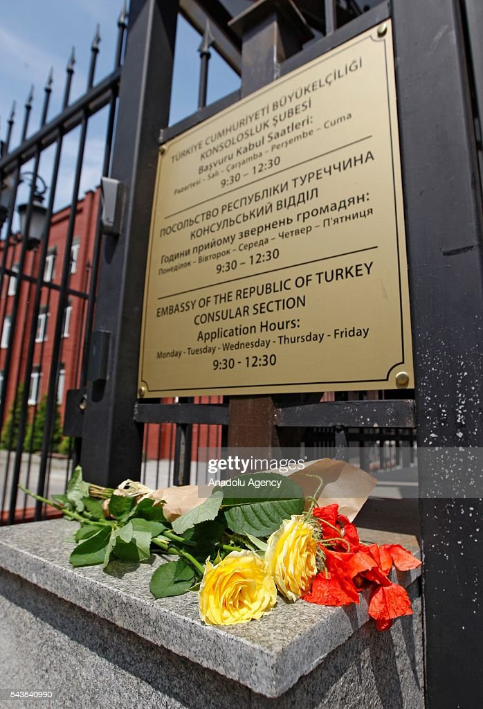 Flowers left for the victims of the terror attack at Istanbul Ataturk International Airport near the Turkish Embassy in Kiev, Ukraine on June 29, 2016. At least 41 victims and three suicide bombers were killed while scores of others were injured in a terror attack at Istanbul's Ataturk International Airport.