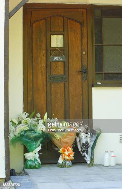 Flowers left on the doorstep of Wishing Well Farm at Brokerswood near Westbury Wiltshire home of Neil Puttick his Japanese wife Kazumi and their son...