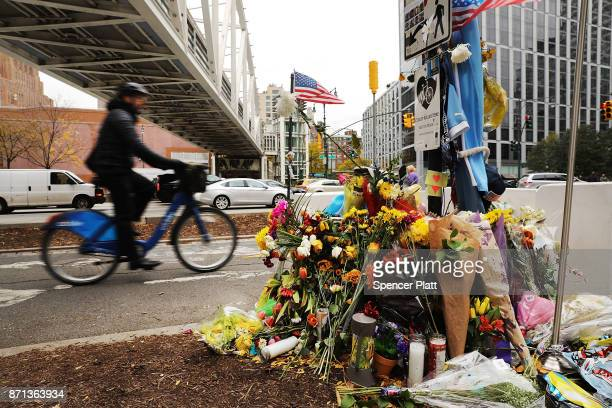 Flowers mark the location where terrorist Sayfullo Saipov crashed into a cyclist along a Manhattan bike path ending a rampage with a truck last...