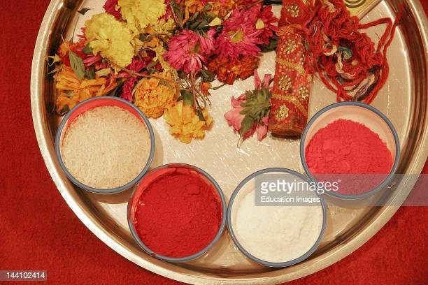 Flowers Nadachadi Kanku Abil Gulal And Chokha Required For A Sacred Ceremony In An Indian Gujarati Wedding India