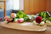 Flowers on coffin in chapel