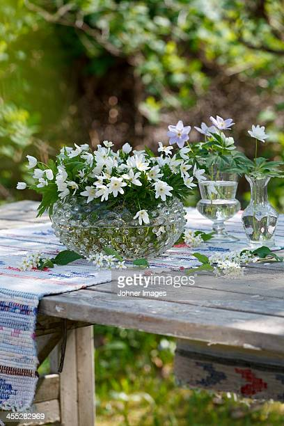 Flowers on garden table