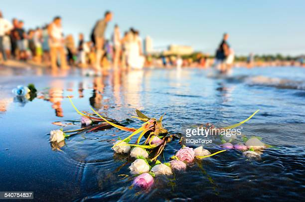 Flowers on water, Iemanja, Montevideo, Uruguay