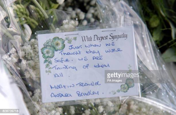 Flowers placed in the memorial setup at the military police station garden Colchester The six victims who were killed in Iraq were remembered in...