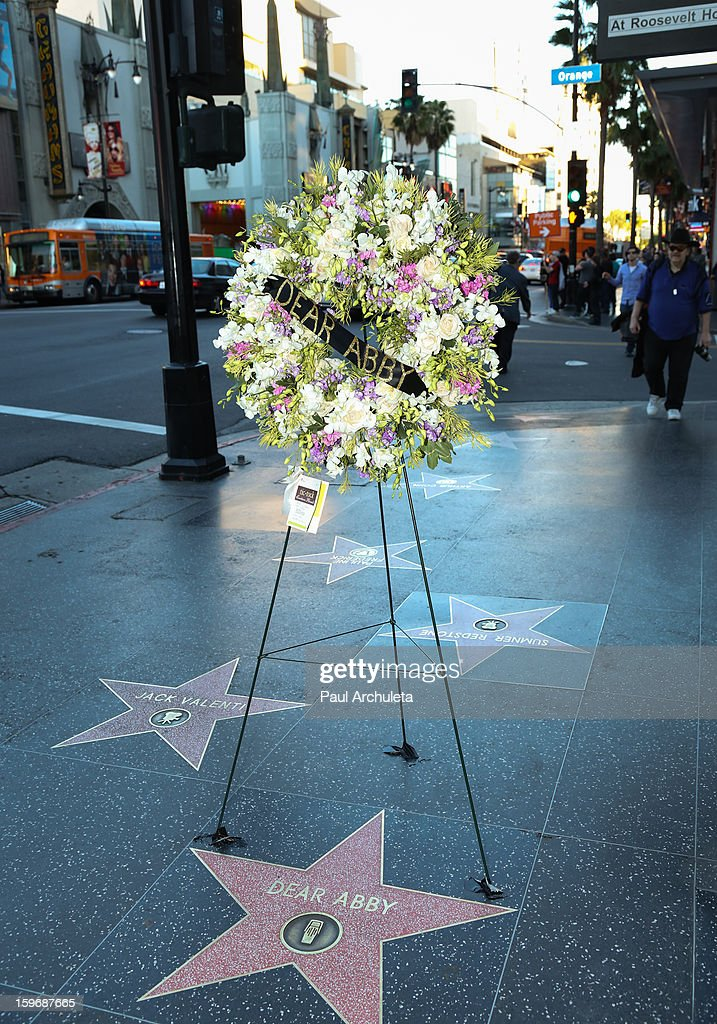 Flowers placed on The Hollywood Walk Of Fame Star in remembrance of 'Dear Abbey' writer Pauline Phillips on January 17, 2013 in Los Angeles, California.