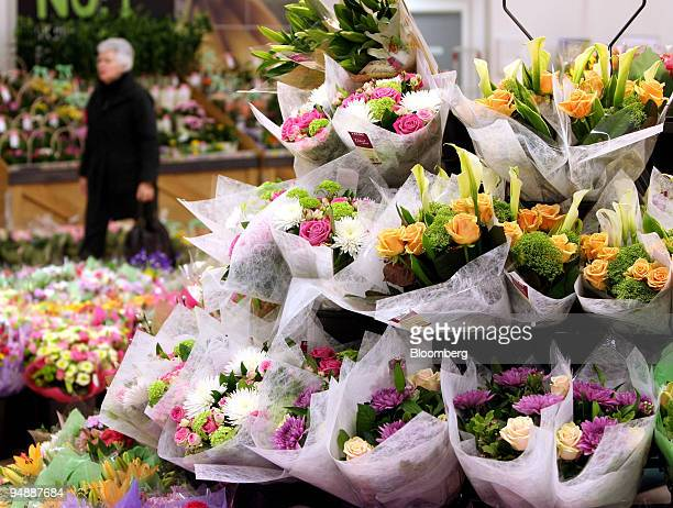 Flowers sit on sale in store at a Sainsbury's supermarket in London Colney UK on Friday Feb 29 2008 UK inflation probably reached the highest level...