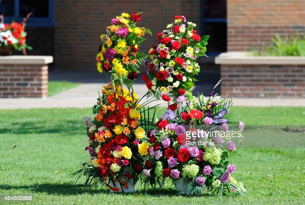 Flowers sit outside of South Lewis Senior High School prior to the funeral service for Kevin Ward Jr on August 14 2014 in Turin New York Ward was...