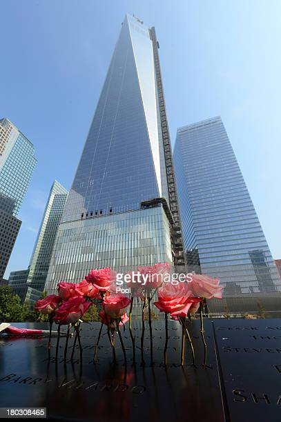 Flowers stand in a name at the at the 9/11 Memorial during ceremonies for the twelfth anniversary of the terrorist attacks on lower Manhattan at the...