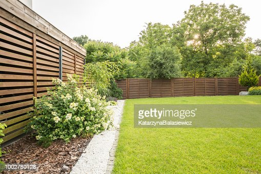 Flowers, trees and green grass in the garden of house with wooden screen. Real photo : Stock Photo