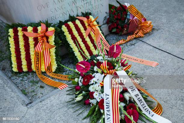 Flowers tribute during the Conmemoration of the 77 years since the execution of the independence President of Catalonia Lluis Companys by Franco...