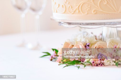 Flowers under Wedding Cake