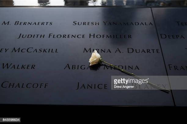 Flowers were left at the North pool memorial site before a commemoration ceremony for the victims of the September 11 terrorist attacks at the...