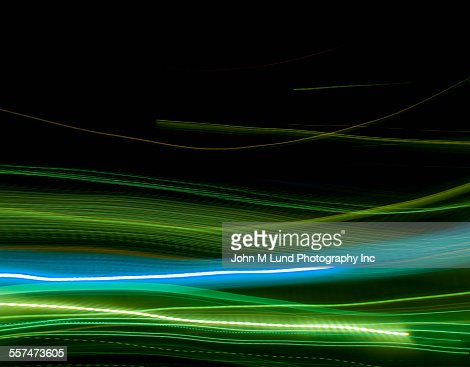 Flowing blue and green energy lights