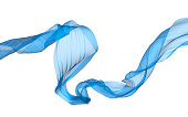 Flowing blue satin3d illustration on white background