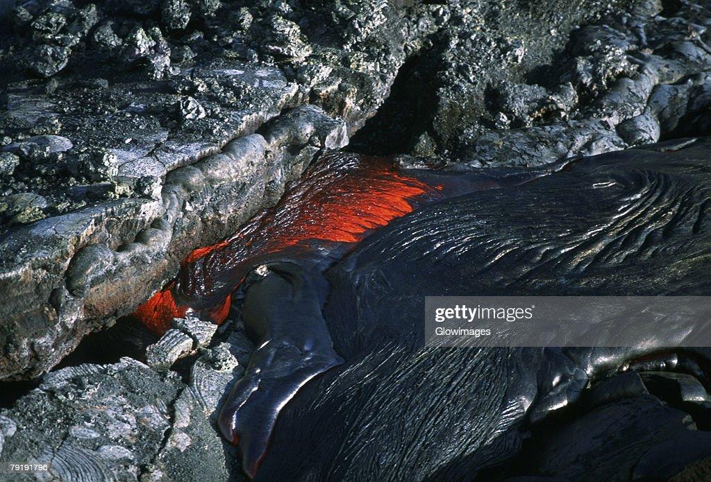 Flowing molten lava, Hawaii : Foto de stock