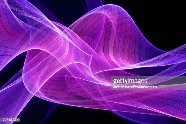 Flowing purple abstract light beams