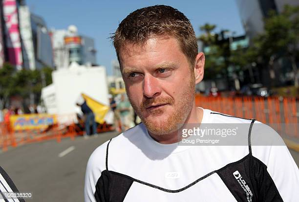 Floyd Landis looks on as he attends Stage Seven of the 2010 Tour of California on May 22 2010 in Los Angeles California