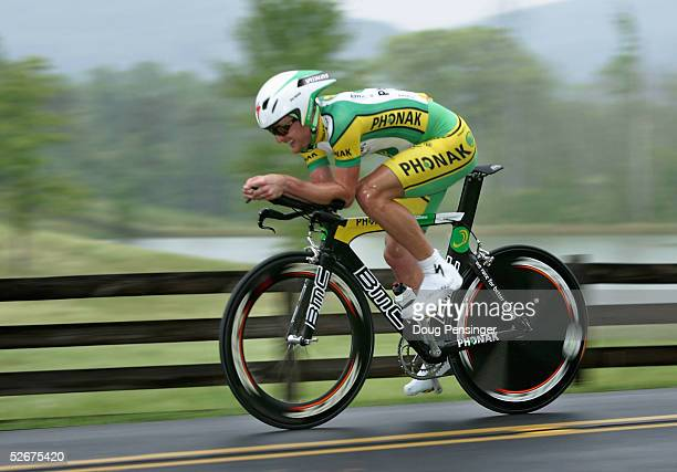 Floyd Landis of the US and riding for Phonak Hearing Systems rides in the individual time trial as he finished first and took the leader's jersey...