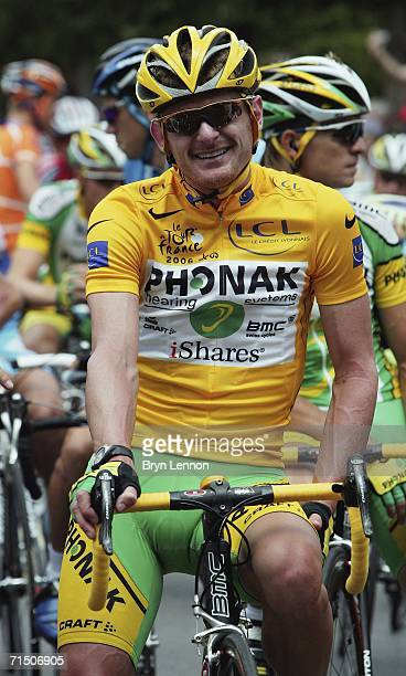 JULY 22 Floyd Landis of the USA and Phonak poses for photographers at the start of the final stage of the 93rd Tour de France on July 23 2006 in...