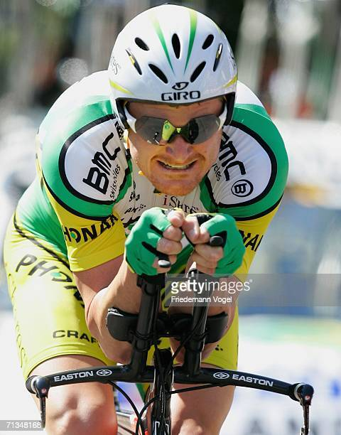 Floyd Landis of the USA and Phonak Team in action during the prologue of the 93st Tour de France on July 1 2006 in Strasbourg France