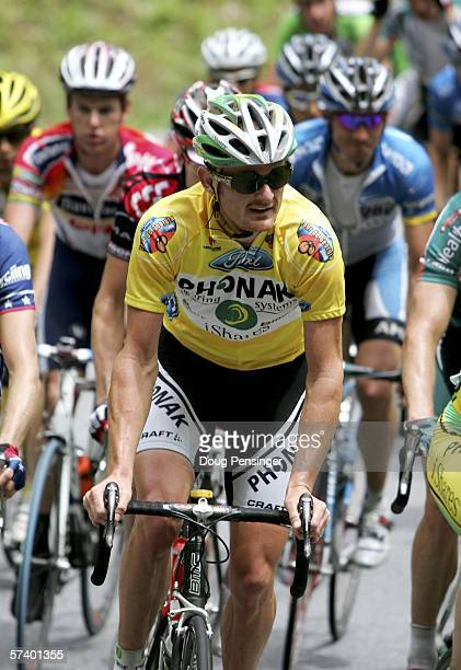 Floyd Landis of the USA and riding for Phonak Hearing Systems climbs with the peloton on the climb of Unicoi Gap as he defended the yellow jersey...
