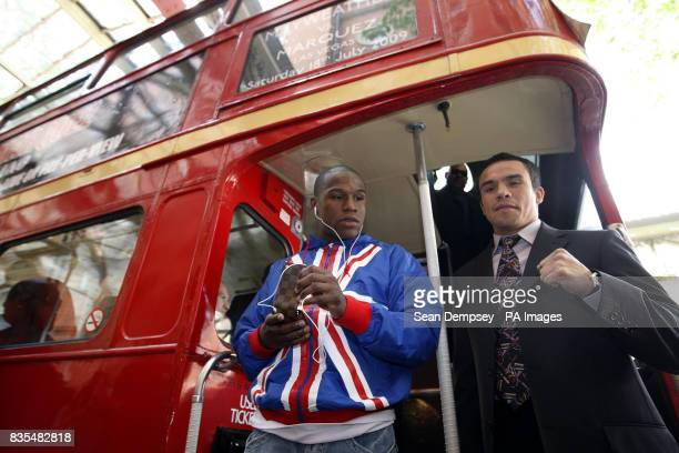 Floyd Mayweather and Mexico's Juan Manuel Marquez during a photocall near the Landmark Hotel London