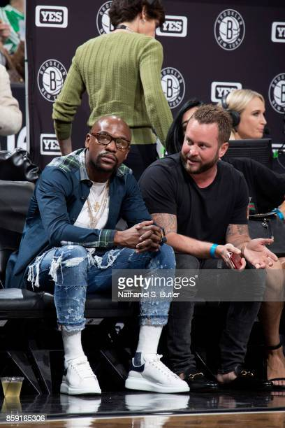 Floyd Mayweather attends the preseason game between the Brooklyn Nets and the New York Knicks on October 8 2017 at Barclays Center in Brooklyn New...