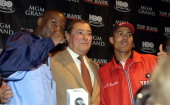 Floyd Mayweather Bob Arum Jose Luis Castillo during Floyd Mayweather and JoseLuis Castillo Press Conference at MGM Grand Hotel in Las Vegas Nevada...