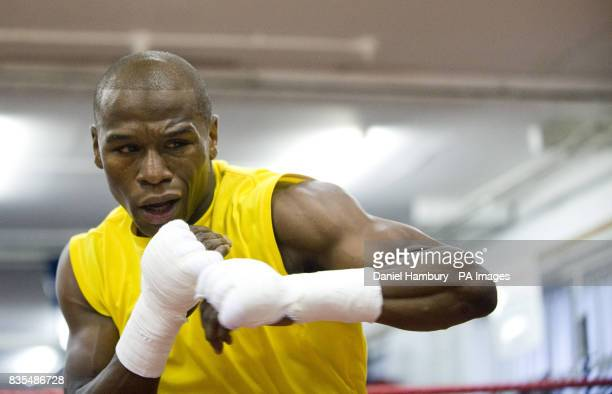 Floyd Mayweather Jnr during the media work out at the Peacock Gym London