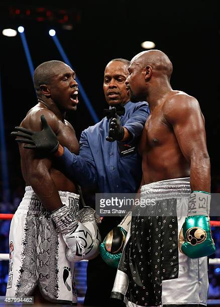 Floyd Mayweather Jr and Andre Berto exchange words in the middle of the ring during their WBC/WBA welterweight title fight at MGM Grand Garden Arena...