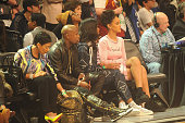 Floyd Mayweather Jr and Rihanna attend State Farm AllStar Saturday Night NBA AllStar Weekend 2015 at Barclays Center on February 14 2015 in New York...