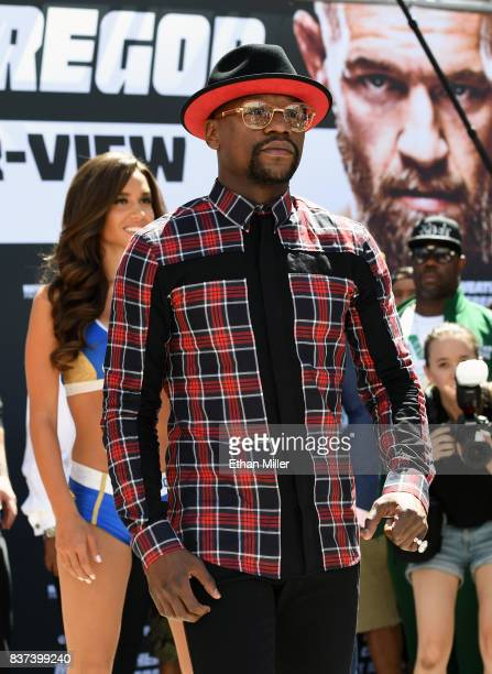 Floyd Mayweather Jr arrives at Toshiba Plaza on August 22 2017 in Las Vegas Nevada Mayweather will fight UFC lightweight champion Conor McGregor in a...