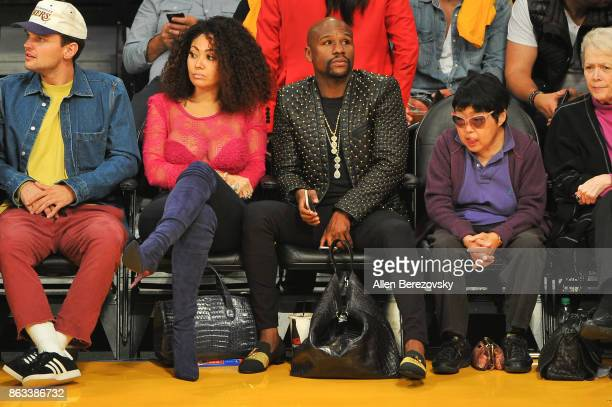 Floyd Mayweather Jr attends a basketball game between the Los Angeles Lakers and the Los Angeles Clippers at Staples Center on October 19 2017 in Los...