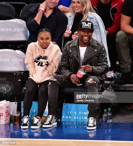 Floyd Mayweather Jr attends Houston Rockets Vs New York Knicks game at Madison Square Garden on October 9 2017 in New York City