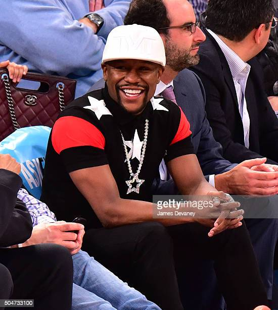 Floyd Mayweather Jr attends the Boston Celtics vs New York Knicks game at Madison Square Garden on January 12 2016 in New York City