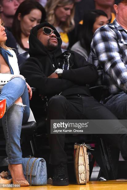 Floyd Mayweather Jr attends the game between the Los Angeles Lakers and the San Antonio Spurs on his 40th birthday at Staples Center on February 26...