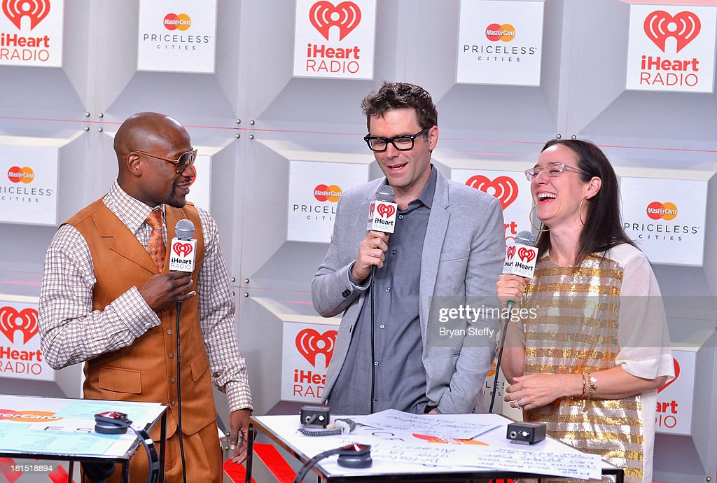 Floyd Mayweather Jr, Bobby Bones and Kennedy attend the iHeartRadio Music Festival at the MGM Grand Garden Arena on September 21, 2013 in Las Vegas, Nevada.