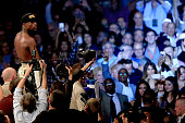Floyd Mayweather Jr celebrates the unanimous decision victory during the welterweight unification championship bout on May 2 2015 at MGM Grand Garden...