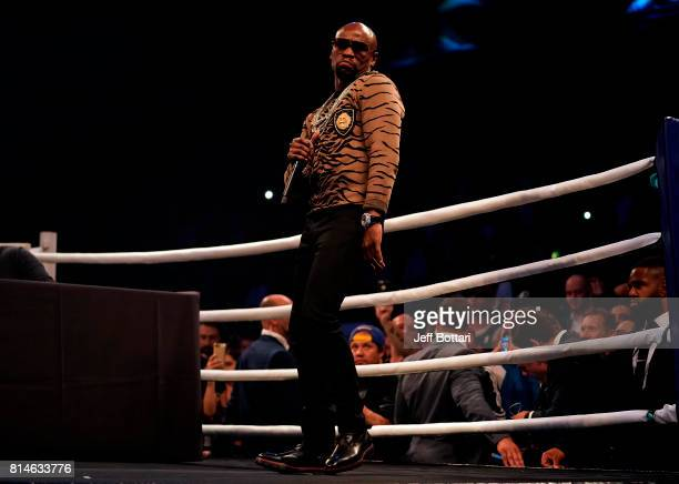 Floyd Mayweather Jr dances inside the ring during the Floyd Mayweather Jr v Conor McGregor World Press Tour event at SSE Arena on July 14 2017 in...