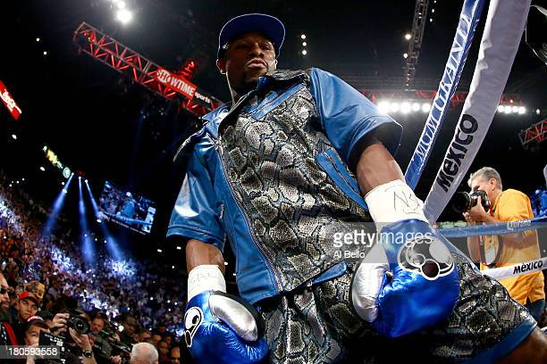 Floyd Mayweather Jr enters the ring to take on Canelo Alvarez in their WBC/WBA 154pound title fight at the MGM Grand Garden Arena on September 14...