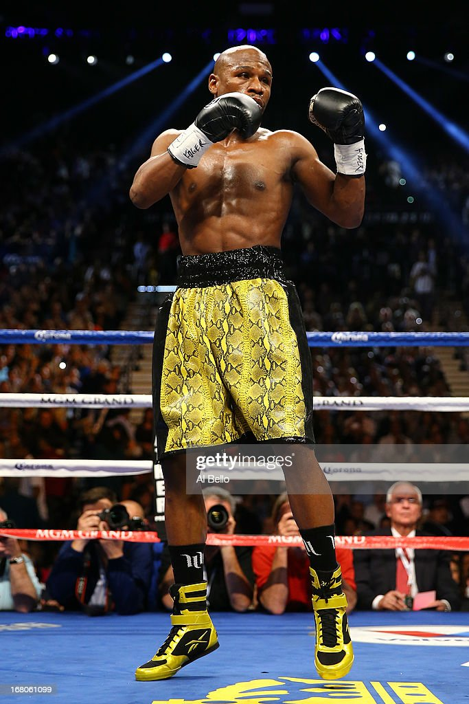 Floyd Mayweather Jr in the ring before he takes on Robert Guerrero in their WBC welterweight title bout at the MGM Grand Garden Arena on May 4 2013...